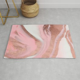 Rose Gold Pink Girly Modern Painted Marble Rug