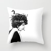 dylan Throw Pillows featuring Dylan by Sy Graham