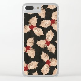 Christmas Gold and Red Holly Berry Clear iPhone Case