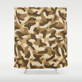 Brown Camo Camouflage Shower Curtain