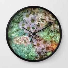 Shabby Retro Floral Wall Clock