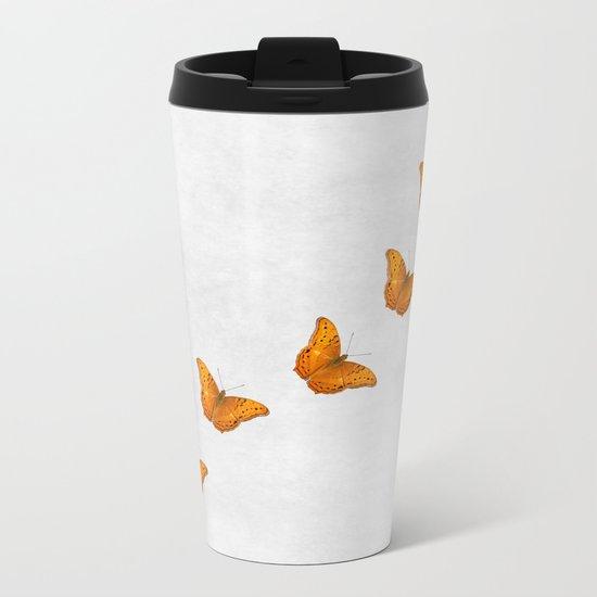 Beautiful butterflies on a textured white background Metal Travel Mug