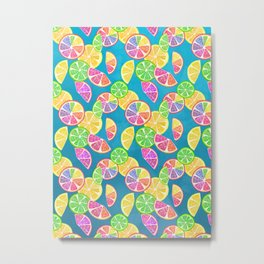 Fruit Slice Pattern on Teal Metal Print