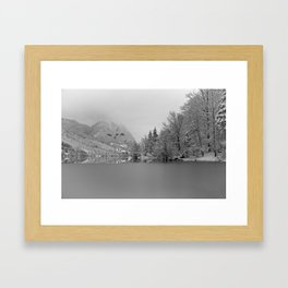 Partly Frozen Lake Bohinj Mono Framed Art Print