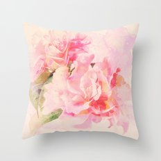 douces fleurs roses Throw Pillow