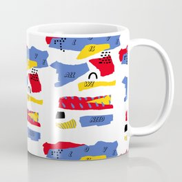 Love is all we need Typography Abstract Shapes Coffee Mug