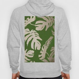 Palm Leaves White Gold Sands on Jungle Green Hoody