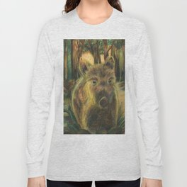 Wild pig in the wood Long Sleeve T-shirt