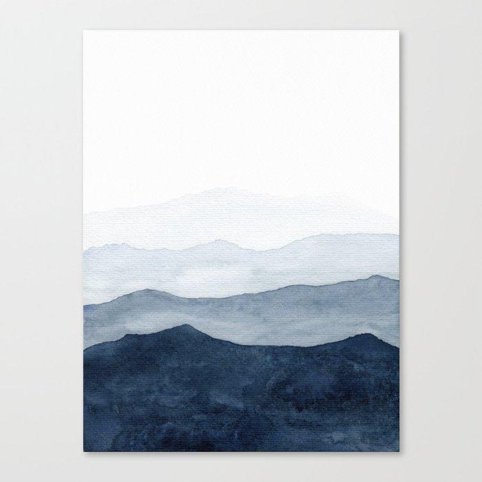 Indigo Abstract Watercolor Mountains Canvas Print