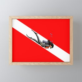Diver And Dive Flag Framed Mini Art Print
