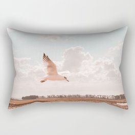 Flying bird Print, white seagull wings, twilight sunset nature photography, neutral peach, peace Rectangular Pillow