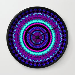 turquoise purple Mandala Wall Clock
