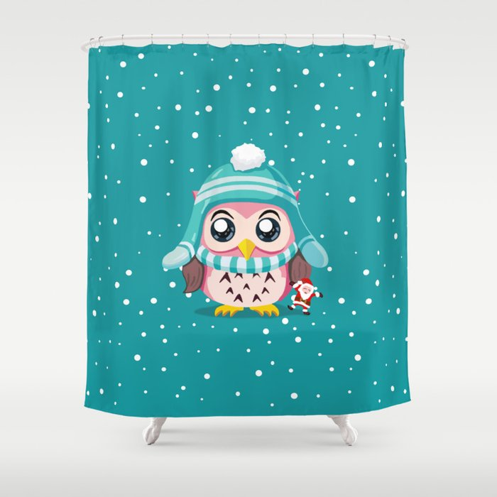Owl Get A Holiday Shower Curtain by vikachan | Society6