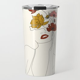 Colorful Thoughts Minimal Line Art Woman with Flowers Travel Mug