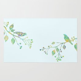 Birds on Branches Love Bird Couple Vintage Floral Pattern Green Yellow Blue Rug