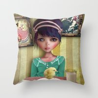 chicken Throw Pillows featuring Chicken by solocosmo