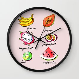 Tropical fruits pattern Wall Clock