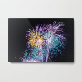 Pastel Fireworks 4th of July photograph Metal Print