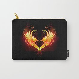 Angel Fire Heart with Wings Carry-All Pouch