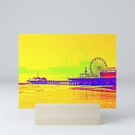 Yellow Pop Art Santa Monica Pier Mini Art Print