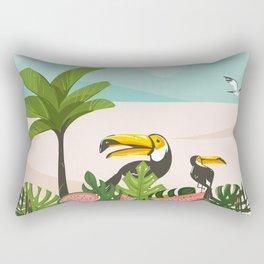 Tropical Bird Beach Rectangular Pillow