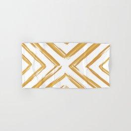 Minimalistic Gold Paint Brush Triangle Diamond Pattern Hand & Bath Towel