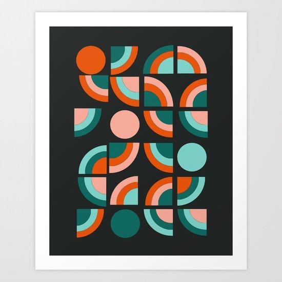 Spiffy - 70's retro throwback minimal geometric trendy colors art 1970s Art Print