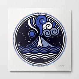 La Vita è Bella – Mediterranean Volcano in Blue Palette Metal Print