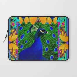 Decorative Blue Peacock & Yellow Butterflies Art Laptop Sleeve