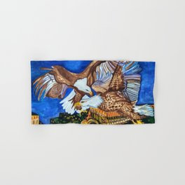 Bald Eagles in Love above Night New York City Hand & Bath Towel