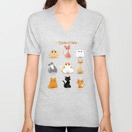 Types of Cats Unisex V-Neck