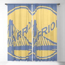 Golden State blue basketball logo Sheer Curtain