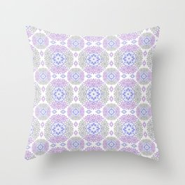 Delicate lace lilac and grey pattern . Throw Pillow