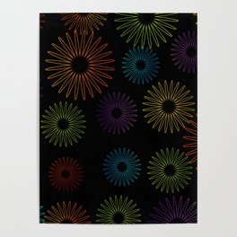 Colorful Christmas snowflakes pattern- holiday season gifts- Happy new year gifts Poster
