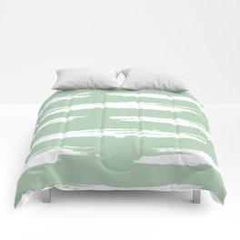 Swipe Stripe White on Pastel Cactus Green Comforters