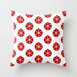 Snowflakes in Red Ornaments Christmas Decor Throw Pillow