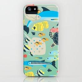 Underwater World with Coral Reef Animals iPhone Case