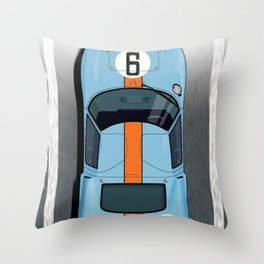 Rodriguez-Bianchi GT40 Gulf Le Mans 1968 Throw Pillow