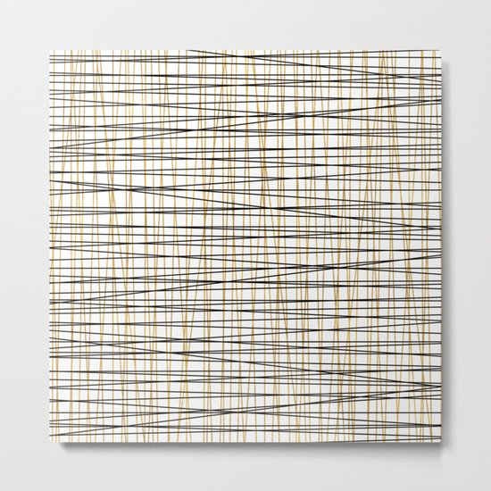 Line Art-Gold and Black Lines on White-Mix and Match with Simplicty of Life Metal Print