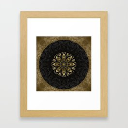 Boho chic Gold Lace Black  Flower Mandala Framed Art Print