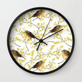 Mimosa and birds Wall Clock