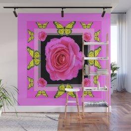 Lavender Fuchsia Pink Rose Butterfly Art Wall Mural