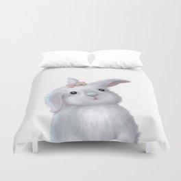 White Rabbit Girl isolated Duvet Cover