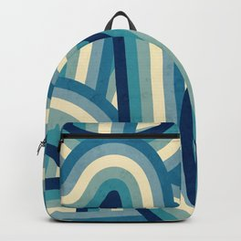 Vintage Faded 70's Style Blue Rainbow Stripes Backpack