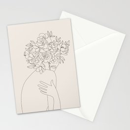 Woman with Flowers Minimal Line III Stationery Cards