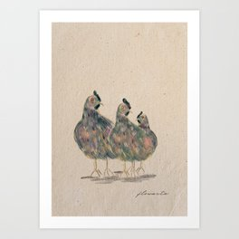 Three Chickens Art Print
