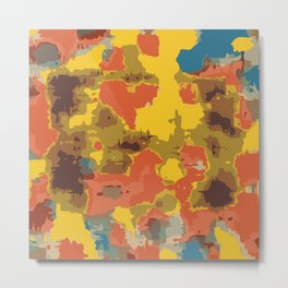 vintage psychedelic geometric painting texture abstract in orange yellow brown blue Metal Print
