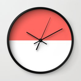 White and Pastel Red Horizontal Halves Wall Clock