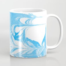 Suminagashi blue and white 1 marble spilled ink ocean swirl watercolor painting Mug