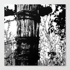 Barbed Wire Fence Post B/W Canvas Print